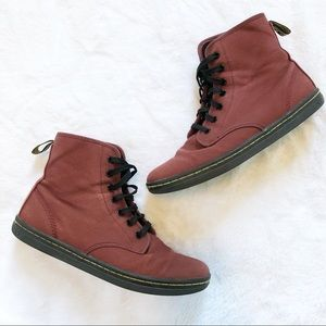 Dr. Martens • Shoreditch Red Canvas Boots Size 9